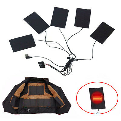 5 Pad USB Electric Heating Thermal Clothes Heated Jacket Outdoor Mobile Warming