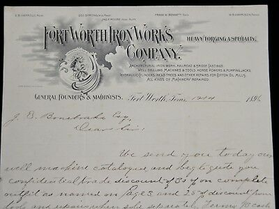 1896 Fort Worth Iron Works Letter w Letterhead Texas Well Drilling Rig Reference
