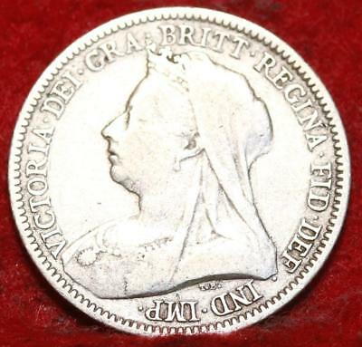 1893 Great Britain 6 Pence Silver Foreign Coin