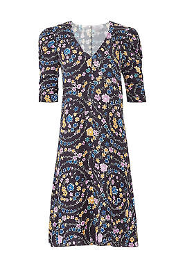 0b91b3f1262f7 See by Chloe Blue Floral Printed Smocked Women's Size 34 Shift Dress $425-  #248