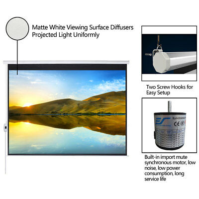 """100""""16:9 Electric Projection Screen Projector Home Movie Matte White"""