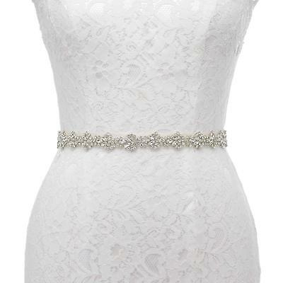 Thin Crystal Bridal Sash Rhinestone Wedding Belt Bridesmaid Belt Prom Dress Sash