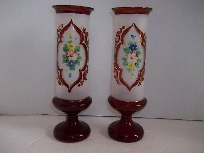 Pair Antique Vintage Czech Bohemian Frosted Ruby Glass HP Flowers HB Mantle Vase