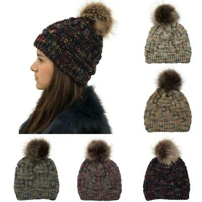 4c3362b9f9c Men Women Cable Knitted Bobble Hat Slouch Plain Beanie Warm Winter Pom  Wooly Cap