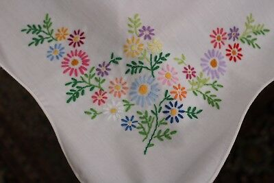 Vintage Cotton White Tablecloth Hand Embroidered Flowers 50x68