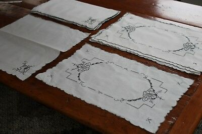 Vintage Fab 8 Placemats 8 Napkins Embroidery & Cut Work Gorgeous!