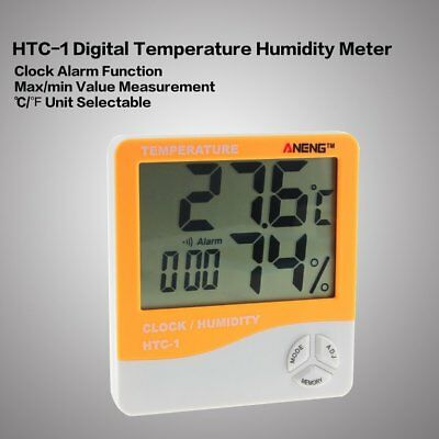 HTC-1 Digital Temperature Humidity Meter Alarm Clock Thermometer Hygrometer 2018