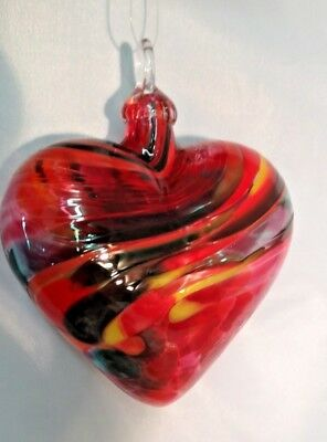 Glass Eye Studio Magenta Lace Heart Glass Ornament Item 179 Made in USA