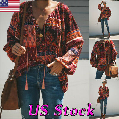 US Women Ladies Boho Floral V Neck Long Sleeve Shirt Tee Loose Casual Top Blouse