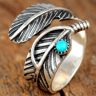 Feather Turquoise Ring Sterling Silver 925 Thumb Boho Bohemian Adjustable Size