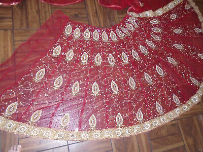 Extra Long Heavy Beaded Indian Wrap - Embroidered Gold Thread-Rhinestones-Beads