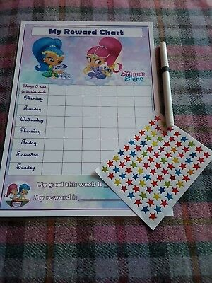 Star Reward Chart re-usable behaviour chart star stickers and pen shimmer shine
