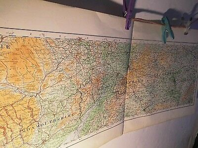 """South Midlands-Gloucester To Bucks :rare Elongated Ordnance Map 1922,1/4"""" Scale:"""