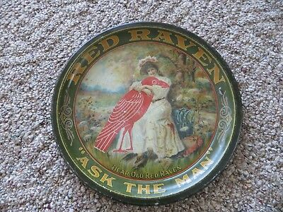 Red Raven,ASK THE MAN,Dear old Red Raven advertising 1900's litho pre pro tray
