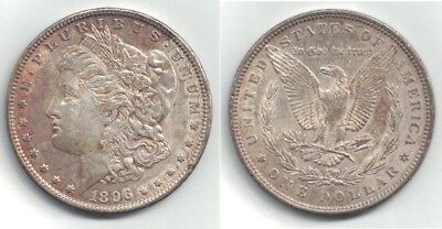 1896 Morgan Silver Dollar in Almost Uncirculated Condition with Some Toning ~