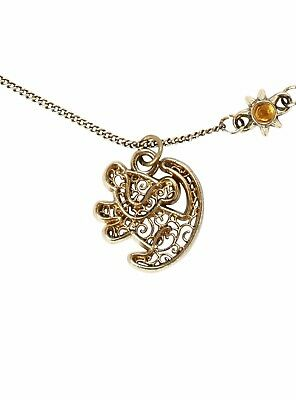 Disney The Lion King Prince Simba Filigree Pendant Necklace Yellow Sun Charm New
