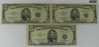 Lot Of Three 1953 A $5 Silver Certificates Nice Vg To Fine Condition #4600