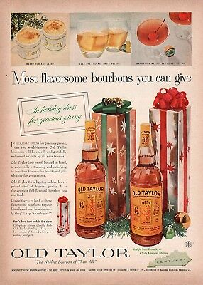 Original Christmas Print Ad - 1957 Old Taylor Bourbon / Noblest Of Them All
