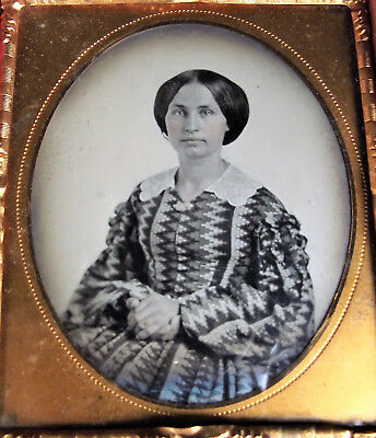 1/6 Plate MARGARET BREECE Identified AMBROTYPE ZIGZAG DRESS Tint Portrait Photo