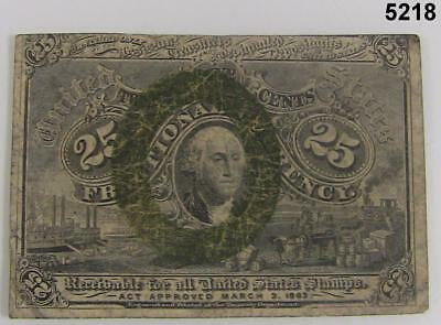 1863 Second Issue 25 Cent Fractional Postal Currency Fr1283 Washington F #5218
