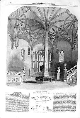 Original Old Antique Print 1857 Alton Towers Octagon Hall Solar Spots Astronomy