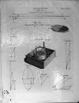 Original Old Antique Print Encyclopaedia Astronomy Moon Motion Azimuth Compass