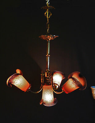 vintage French Rococo Revival chandelier Bronze & Gilt metal 4 art glass shades