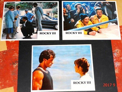 ROCKY III set of 3 orig 1982 Lobby Cds (#2,3,5) Sly Stallone, Carl Weathers
