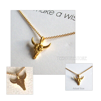 """Dogeared 14K Gold Vermeil Bull Skull & 16"""" + 2"""" Chain Make A Wish Necklace Boxed"""