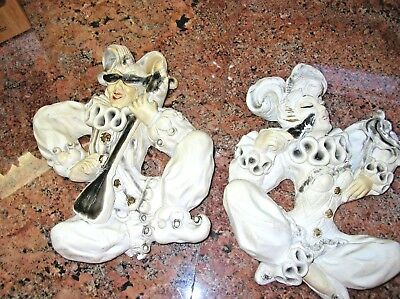 Outstanding Vintage Chalk Harlequin Jesters Wall Plaque Pair