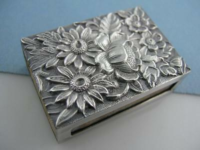 Sterling S KIRK & SON Match Holder / Box REPOUSSE 90F w/ insert ~ $48 each