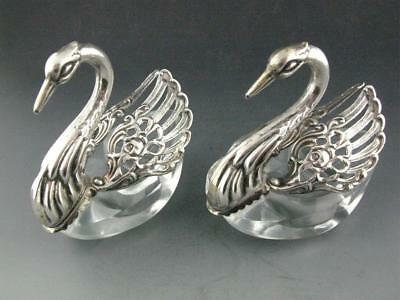 pr 800 Silver & Crystal figural Swan form Salt Cellars Dishes w/ moveable wings