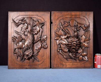 *Pair of Antique French Highly Carved Panels in Oak Wood Hunting Salvage