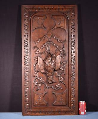 *Antique French Highly Carved Hunting Panel in Oak Wood with Birds Salvage