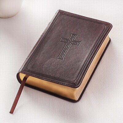 KJV Bible Compact Large Print Brown Lux-Leather Red letter New-Shrink Wrapped!!
