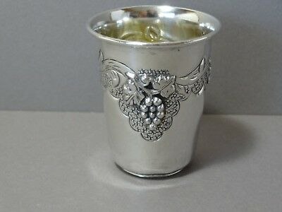 Vintage Ben Zion Israel Sterling Silver Judaica Kiddush Wine Cup Grapes Vine