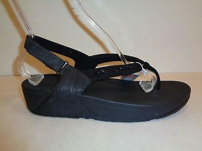 e4f188fdb75 FitFlop Size 10 CRYSTAL SWIRL Black Slingback Sandals New Womens Shoes