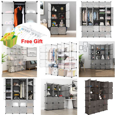 8-30Cube DIY Interlocking Modular Storage Organizer Shelving Closet Wardrobe US
