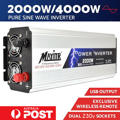 MAYITR Large Shell Pure Sine Wave Power Inverter 3000W/6000W Max 12V To 240V