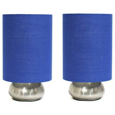 d854748b15c All the Rages 2 Pack Mini Touch Lamp with Brushed Steel Base and Blue Shade