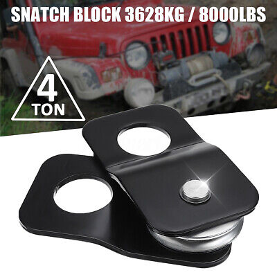 Snatch Block 8000 lb Capacity Recover Vehicle Winch Pulley 4T 4 Ton Black