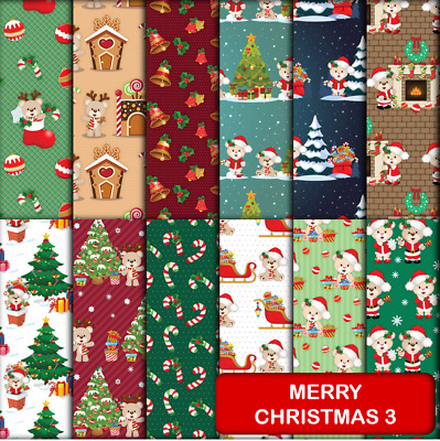 MERRY CHRISTMAS 3 SCRAPBOOK PAPER - 12 x A4 pages.