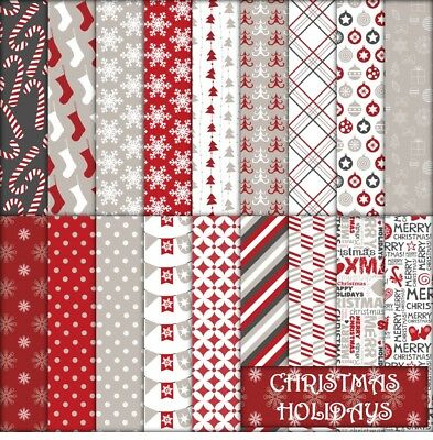 CHRISTMAS HOLIDAYS SCRAPBOOK PAPER - 18 x A4 pages.