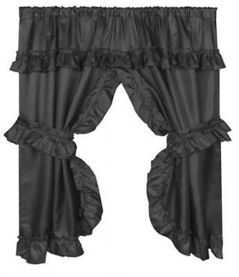 Carnation Home Fashions 70 x 45 in. Lauren Window Curtain with Ruffled Black