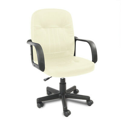 Small Leather Task Office Chair Computer Desk Swivel Executive Adjustable White