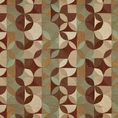 Designer Fabrics 54 in. Gold Brown & Red Geometric Chenille Upholstery Fabric