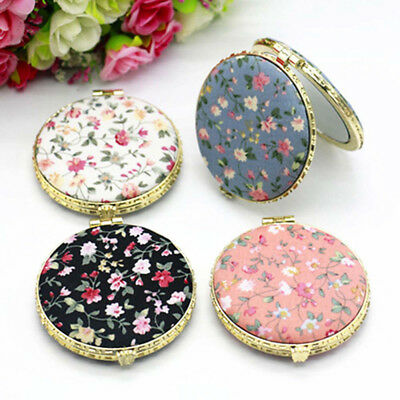 Mini Floral Double-sided Makeup Mirror Compact Pocket Portable Folding Cosmetic