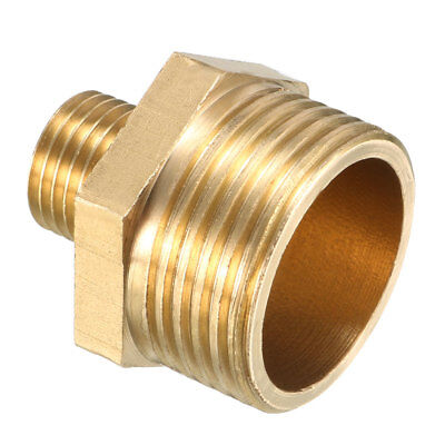 Brass Pipe Fitting, Reducing Hex Nipple, 3/4 PT Male x 1/4 PT Male Adapter
