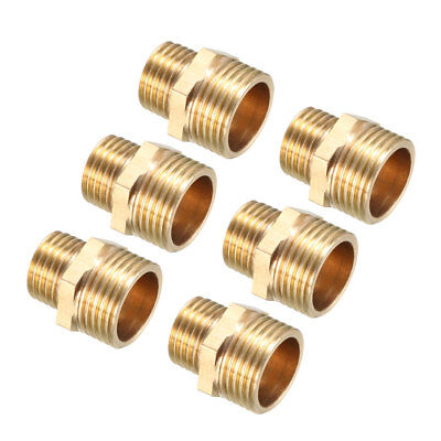 Brass Pipe Fitting, Reducing Hex Nipple, 3/8 PT Male x 1/4 PT Male Adapter 6pcs