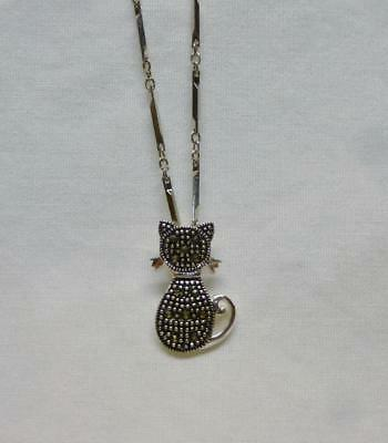 "Lovely Silver Tone 16"" Long Chain Necklace With A Cat With Marcasites Pendant."